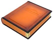 布朗用皮革包盖有装饰框架的象册盖子的文本 免版税库存图片