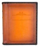 布朗用皮革包盖有装饰框架的象册盖子的文本 库存图片