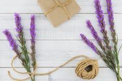 布朗用紫罗兰色鹿舌草和绳索装饰的礼物盒开花 免版税库存照片