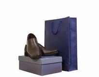 布朗皮革人的鞋子 库存照片