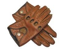 布朗皮革司机手套  库存照片