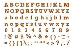 布朗皮革字母表 免版税库存图片