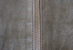 布朗皮革纹理和拉链背景 免版税库存图片