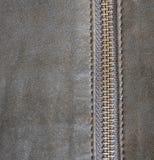 布朗皮革纹理和拉链背景 库存照片