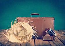 布朗皮革葡萄酒手提箱和照相机 图库摄影