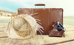布朗皮革葡萄酒手提箱和照相机 免版税库存照片