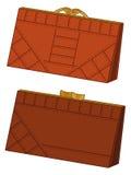 布朗皮革钱包,集合 图库摄影