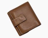 布朗皮革钱包 免版税库存图片