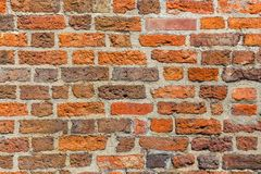 布朗砖墙当难看的东西背景 免版税图库摄影
