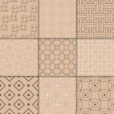 布朗米黄几何装饰品 收集仿造无缝 免版税库存照片
