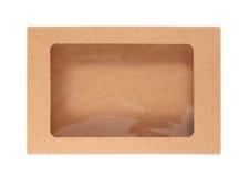 布朗纸盒箱子被隔绝在白色背景 库存图片