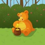 布朗逗人喜爱的小熊坐草 免版税库存照片