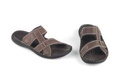 布朗颜色皮革凉鞋 库存照片