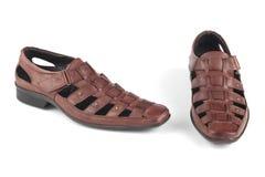 布朗颜色皮革凉鞋 库存图片