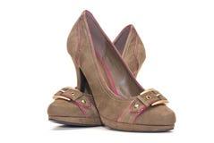 布朗高跟鞋 免版税库存图片