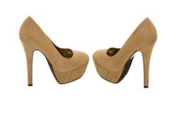 布朗高跟鞋 免版税图库摄影