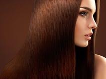 布朗头发。美丽的妇女画象有长的头发的。 库存图片