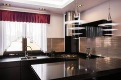 布朗worktop在典雅的厨房里 免版税库存照片