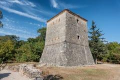 布特林特古城威尼斯式塔在阿尔巴尼亚 免版税库存图片