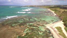 布瓦约兰海滩,盐水湖,格朗德特尔岛,瓜德罗普,加勒比鸟瞰图  股票视频