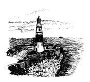 直布罗陀在开普角忽略大西洋和直布罗陀海峡的欧洲的风景灯塔 向量例证