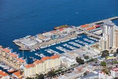 小游艇船坞在直布罗陀市 库存图片