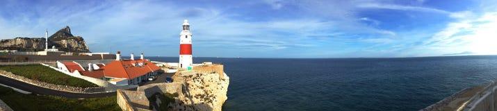 直布罗陀点灯塔欧罗巴点和大西洋,直布罗陀背景全景  库存图片