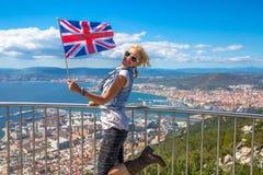 直布罗陀英国旗子 库存图片
