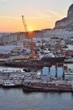 直布罗陀靠码头日出 图库摄影