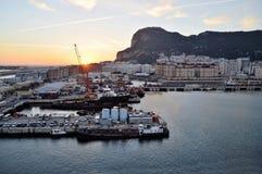 直布罗陀靠码头日出 库存照片