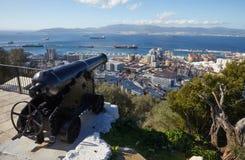 直布罗陀,问题的兴趣在英国国外区域上在伊比利亚半岛的南部的唾液, 免版税库存照片