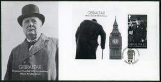 直布罗陀- 2015年:展示温斯顿Spencer丘吉尔先生1874-1965,第50周年,政客 免版税库存照片
