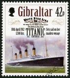 直布罗陀- 2012年:展示设置了在她的少女远航的风帆, 1912年4月10日,系列力大无比的百年1912-2012 免版税图库摄影