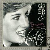直布罗陀- 2007年:展示戴安娜(1981-1997),威尔士王妃进贡 免版税库存照片