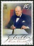 直布罗陀- 2008年:温斯顿Spencer丘吉尔先生1874-1965,英国政治家和WWII领导 图库摄影