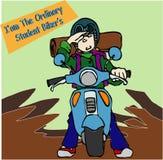 布罗骑自行车的人学生 库存图片
