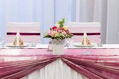 布置的婚礼桌 库存照片