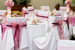 布置的婚礼桌 库存图片