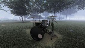 布莱克的鼓成套工具在有雾的森林里 库存例证