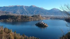 Lake Bled and the church Stock Footage