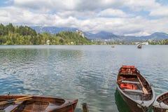 布莱德湖在斯洛文尼亚,春天2015年 免版税库存图片