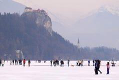 布莱德湖,斯洛文尼亚- 2012年2月12日:享用冻布莱德湖的家庭 免版税图库摄影