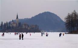 布莱德湖,斯洛文尼亚- 2012年2月12日:享用冻布莱德湖的家庭 免版税库存图片
