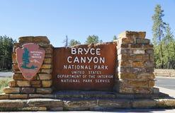 布莱斯峡谷国家公园标志 免版税图库摄影