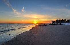 布赖顿和科尼岛海滩日落 免版税库存照片