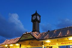 布赖顿码头看法在日落的 图库摄影