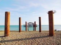 布赖顿西部码头和柱子2 免版税库存图片