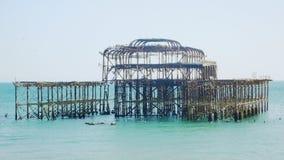 布赖顿西部码头接近的视图 免版税库存照片