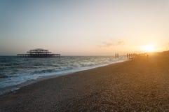 布赖顿风景日落的 库存图片