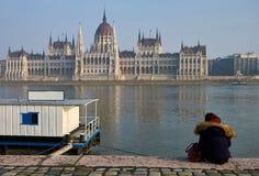 布达佩斯、匈牙利,议会和多瑙河 库存照片